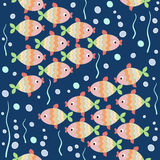 Flock. Stylization schools of fish swimming in the sea water. Vector pattern. Eps 8 Royalty Free Stock Photo