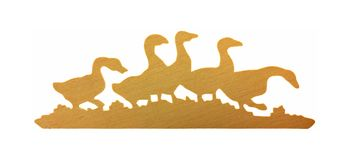 Flock Wooden Ducks Stock Images