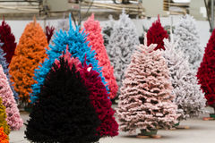 Flocked Christmas Tree. With multi colors Royalty Free Stock Photos