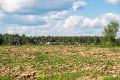 A tractor plows the field on a bright Sunny day. Rural spring landscape. Flocks of birds follow directly behind a tractor, plowing the field. They find Royalty Free Stock Photos