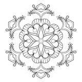 Floco da neve do zentangle do vetor, mandala elegante para a coloração adulta ilustração stock