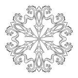 Floco da neve do zentangle do vetor, mandala para páginas adultas da coloração O ilustração do vetor