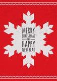 Floco de neve abstrato do vetor no fundo vermelho do grunge Natal ou Foto de Stock Royalty Free