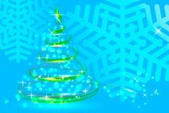 Floco de neve azul da abstração, abeto festivo do Natal, ano novo Imagens de Stock Royalty Free