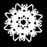 Floco de neve branco em um fundo preto imagem de stock