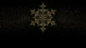 Floco de neve de brilho do ouro do Natal no fundo escuro com elementos da decoração do feriado Gráfico dado laços do movimento filme