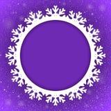 Floco de neve de Violet Background New Year Snow do círculo Foto de Stock