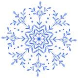 Floco de neve decorativo pintado à mão da aquarela ilustração do vetor