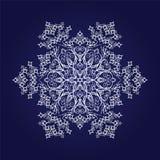 Floco de neve detalhado na obscuridade - fundo azul Fotografia de Stock Royalty Free