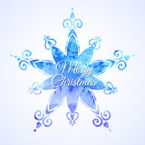 Floco de neve do azul da aquarela Fotos de Stock