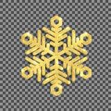 Floco de neve do brilho do ouro no fundo transparente Vetor Imagens de Stock