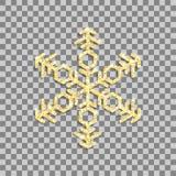 Floco de neve do brilho do ouro no fundo transparente Vetor ilustração do vetor