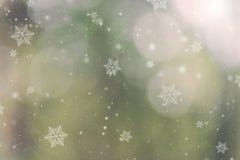 Floco de neve do Feliz Natal no fundo verde do bokeh Imagem de Stock Royalty Free