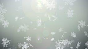Floco de neve do globo da neve do Natal com queda de neve no fundo branco