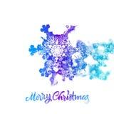 Floco de neve do Natal com o efeito da exposição dobro que adiciona a neve de queda ilustração stock