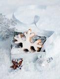 Floco de neve do Natal em uma caixa de presente Fotos de Stock Royalty Free