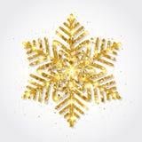 Floco de neve do ouro do brilho no fundo branco Flocos de neve dourados de incandescência com textura do brilho Floco de neve com ilustração royalty free