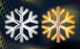 Floco de neve do ouro e da prata Iluminação moderado volumétrico em um fundo escuro jogo Ilustração do vetor ilustração royalty free