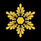 Floco de neve do ouro sobre o preto Foto de Stock Royalty Free