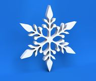 floco de neve do White Christmas 3d isolado no fundo azul Foto de Stock