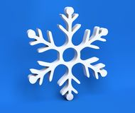 floco de neve do White Christmas 3d isolado no fundo azul Fotos de Stock Royalty Free