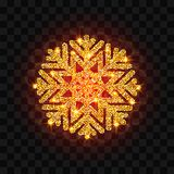 Floco de neve dourado do brilho Imagens de Stock