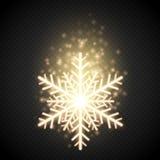 Floco de neve dourado do brilho com brilho Decoração do vetor do Natal Fotografia de Stock Royalty Free