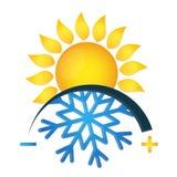 Floco de neve e sol do símbolo do condicionamento de ar ilustração royalty free