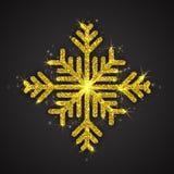Floco de neve efervescente dourado do vetor Fotos de Stock