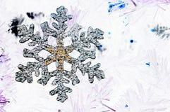 Floco de neve em um fundo branco Fotos de Stock