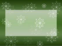 Floco de neve no cartão verde ilustração stock