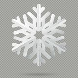 Floco de neve de papel dobrado realístico branco do Natal com a sombra isolada no fundo transparente Eps 10 ilustração royalty free