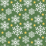 Floco de neve Pattern_Green Fotografia de Stock Royalty Free