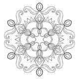Floco de papel no estilo do zentangle, mandala da neve do entalhe do vetor para a ilustração stock