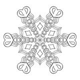 Floco elegante da neve de Zentangle, mandala para páginas adultas da coloração ilustração royalty free