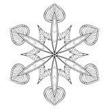 Floco elegante da neve do zentangle do vetor, mandala para a coloração adulta ilustração stock