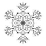 Floco no estilo da garatuja do zentangle, mandala da neve do vetor para o adulto c ilustração stock