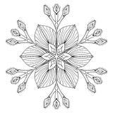 Floco no estilo da garatuja do zentangle, mandala preta da neve do vetor para a ilustração do vetor