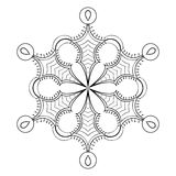 Floco no estilo da garatuja do zentangle, mandala preta da neve do vetor para a ilustração royalty free