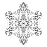 Floco no estilo do zentangle, mandala da neve do vetor da garatuja para o adulto c Foto de Stock