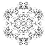 Floco no estilo do zentangle, mandala da neve do vetor para a coloração adulta ilustração do vetor