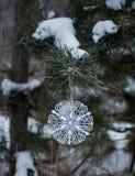Flocon de neige accrochant sur une ficelle Macro photo Images libres de droits