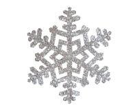 Flocon de neige argenté de Noël d'isolement sur le blanc Photo stock