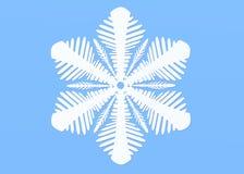 Flocon de neige blanc d'isolement sur le fond bleu Illustration de sno image stock