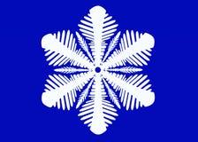 Flocon de neige blanc d'isolement sur le fond bleu Illustration de sno photographie stock libre de droits
