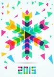 Flocon de neige coloré abstrait de vecteur avec le fond d'hiver chris Photographie stock