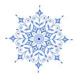 Flocon de neige décoratif peint à la main d'aquarelle illustration stock