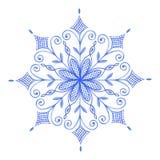 Flocon de neige décoratif peint à la main d'aquarelle illustration de vecteur