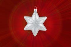 Flocon de neige d'argent de décoration de Noël Photographie stock libre de droits