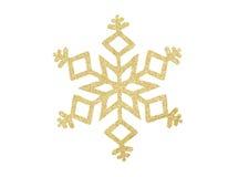 Flocon de neige d'or de Noël d'isolement sur le blanc Images libres de droits